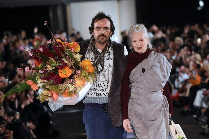 Andreas Kronthaler (L), and his wife Vivienne Westwood (R) have long been environment activists (AFP Photo/Christophe ARCHAMBAULT)