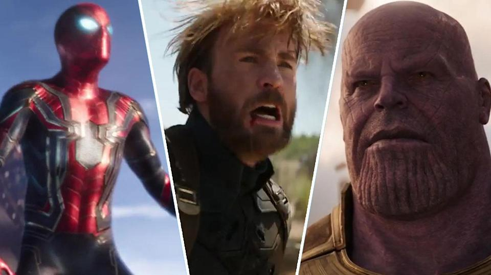 Spider-Man, Captain America and Thanos in Marvel's Infinity War (Disney).