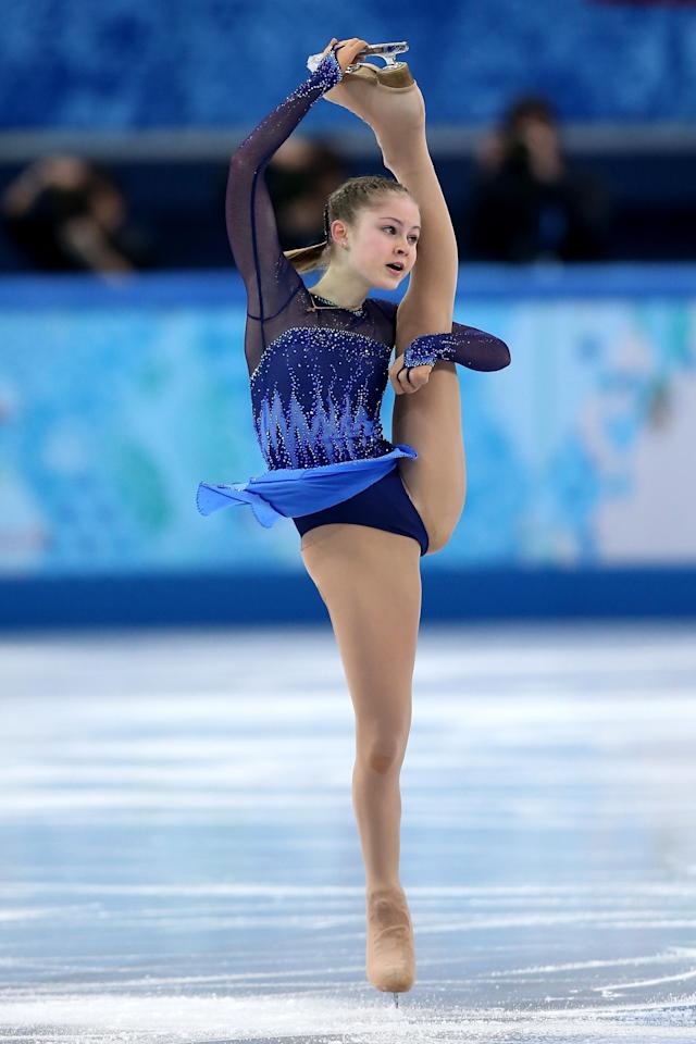 SOCHI, RUSSIA - FEBRUARY 19: Yulia Lipnitskaya of Russia competes in the Figure Skating Ladies' Short Program on day 12 of the Sochi 2014 Winter Olympics at Iceberg Skating Palace on February 19, 2014 in Sochi, Russia. (Photo by Matthew Stockman/Getty Images)