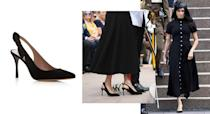 """<p>The Duchess of Sussex dressed for the Anzac memorial opening on day five of the royal tour in a bespoke Emilia Wickstead dress but it was her shoes that really stole the spotlight. For those of you interested in her £566 go-to heels by Tabitha Simmons, they're available to still purchase from the website. <strong><a rel=""""nofollow noopener"""" href=""""https://www.bloomingdales.com/shop/product/tabitha-simmons-womens-millie-slingback-pointed-toe-pumps?ID=2956738&PartnerID=LINKSHARE&cm_mmc=LINKSHARE-_-n-_-n-_-n&ranMID=37205&ranEAID=QFGLnEolOWg&ranSiteID=QFGLnEolOWg-yliFTBxGUGXhLMh6WQXvLA&LinkshareID=QFGLnEolOWg-yliFTBxGUGXhLMh6WQXvLA&ranPublisherID=QFGLnEolOWg&ranLinkID=1&ranLinkTypeID=15&ranMID=37206&ranEAID=QFGLnEolOWg&ranSiteID=QFGLnEolOWg-1lSo8XAy.R9BM9f_ns7WdQ&LinkshareID=QFGLnEolOWg-1lSo8XAy.R9BM9f_ns7WdQ&ranPublisherID=QFGLnEolOWg&ranLinkID=1&ranLinkTypeID=15&ranMID=37206&ranEAID=TnL5HPStwNw&ranSiteID=TnL5HPStwNw-AQJP9WrM0jnj5oJSuHw3Cw&LinkshareID=TnL5HPStwNw-AQJP9WrM0jnj5oJSuHw3Cw&ranPublisherID=TnL5HPStwNw&ranLinkID=1&ranLinkTypeID=10&ranMID=37206&ranEAID=TnL5HPStwNw&ranSiteID=TnL5HPStwNw-Fy_vVPLnOqvB7pj62eZoxA&LinkshareID=TnL5HPStwNw-Fy_vVPLnOqvB7pj62eZoxA&ranPublisherID=TnL5HPStwNw&ranLinkID=1&ranLinkTypeID=10"""" target=""""_blank"""" data-ylk=""""slk:Shop now"""" class=""""link rapid-noclick-resp"""">Shop now</a></strong>. <em>[Photo: Getty]</em> </p>"""