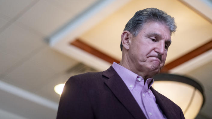U.S. Sen. Joe Manchin (D-WV) is interviewed after a news conference at the Marriott Hotel at Waterfront Place June 3, 2021 in Morgantown, West Virginia. (Michael Swensen/Getty Images)