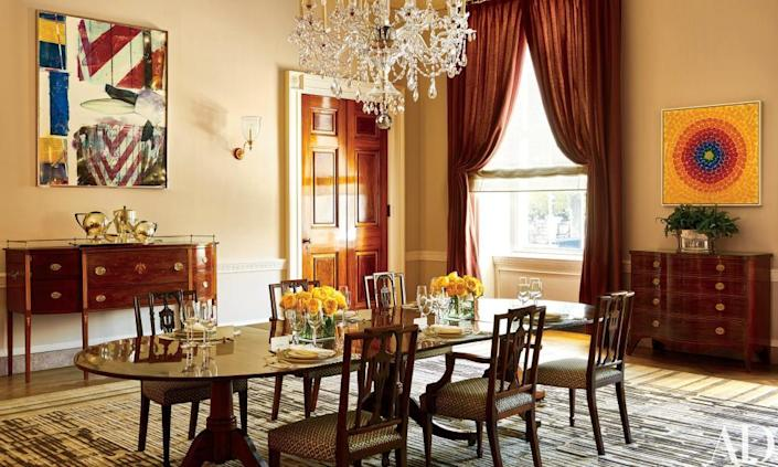 Michelle Obama redesigned the Old Family Dining Room, giving it a modern splash. Alma Thomas's artwork, right, is the first in the White House by an African American female artist.