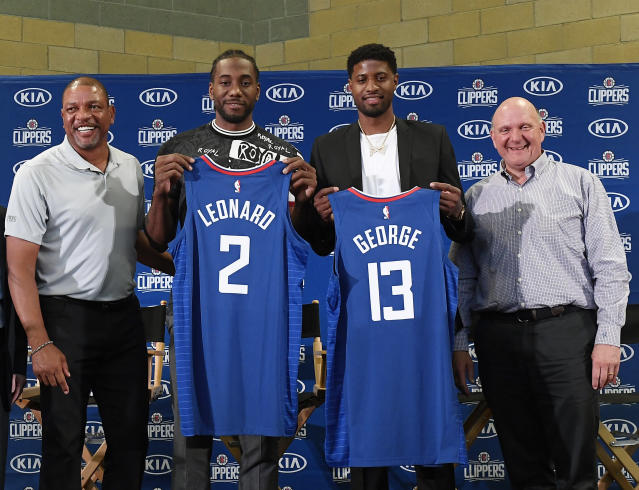 "<a class=""link rapid-noclick-resp"" href=""/nba/teams/la-clippers/"" data-ylk=""slk:Clippers"">Clippers</a> owner Steve Ballmer balked at the trade package for <a class=""link rapid-noclick-resp"" href=""/nba/players/4725/"" data-ylk=""slk:Paul George"">Paul George</a>, but Doc Rivers found the perfect argument to convince him it would be worth it. (Photo by Kevork Djansezian/Getty Images)"