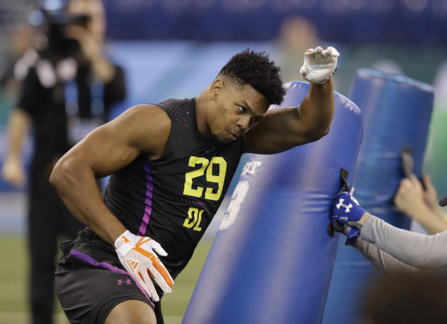 The Saints traded a lot to move up and draft UTSA defensive lineman Marcus Davenport. (AP)