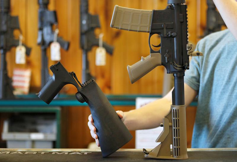 Gun stores nationwide are selling out of bump stocks,a device used by the Las Vegas shooter that allows a semiautomatic gun to fire as quickly as a machine gun.