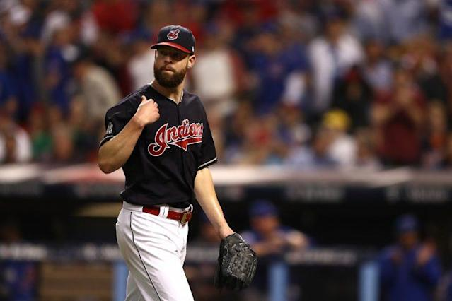 Corey Kluber wearing Cleveland blue jersey in the World Series. (Getty Images/Elsa)
