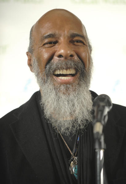 FILE - In this May 3, 2009 file photo, singer Richie Havens makes an appearance in the press room at the Clearwater Concert celebrating Pete Seeger's 90th birthday at Madison Square Garden, in New York. Havens, who sang and strummed for a sea of people at Woodstock, has died at 72. His family says in a statement that Havens died Monday, April 22, 2013, of a heart attack. (AP Photo/Peter Kramer, File)