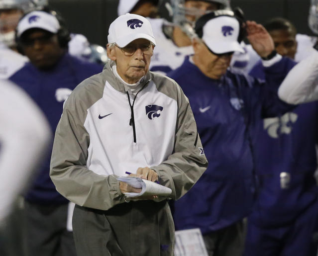 Kansas State head coach Bill Snyder in the second half of an NCAA college football game against Oklahoma State in Stillwater, Okla., Saturday, Nov. 18, 2017. Kansas State won 45-40. (AP Photo/Sue Ogrocki)