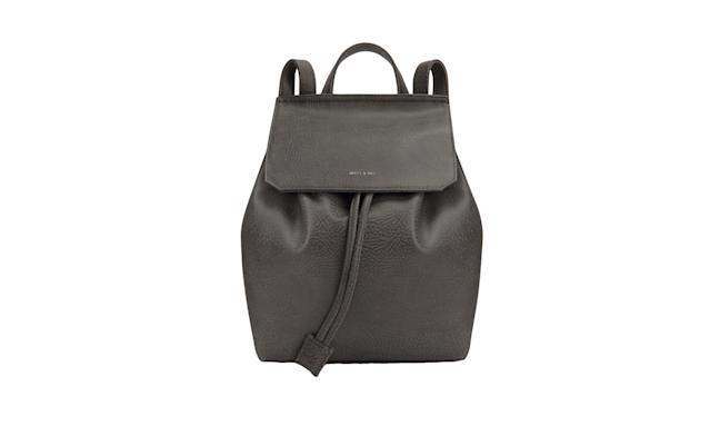 "<p>Mumbai Carbon, $145 (on sale, $109), <a href=""http://mattandnat.com/shop/handbags/backpacks/mumbai-carbon"" rel=""nofollow noopener"" target=""_blank"" data-ylk=""slk:mattandnat.com"" class=""link rapid-noclick-resp"">mattandnat.com</a> </p>"