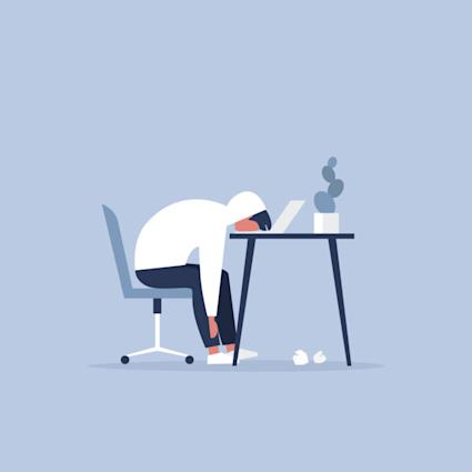 Professional burnout. Young exhausted manager sitting at the office. Long working day. Millennials at work. Flat editable vector illustration, clip art