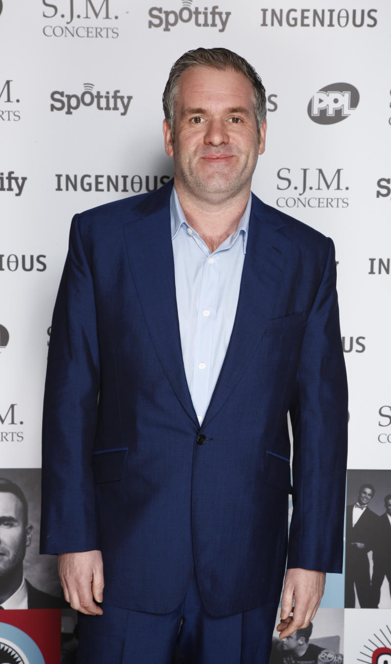 Chris Moyles arrives at the 2012 Music Industry Trusts Award ceremony at the Grosvenor House Hotel on Monday, Nov. 5, 2012, in London. (Photo by John Marshall JM Enternational/Invision/AP)