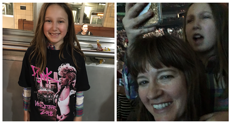 My daughter in her $10 shirt, left, and both of us, right, in concert position. (Photos courtesy of the author)