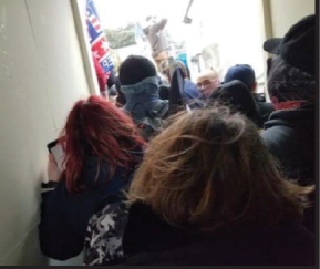 Screenshot of a video taken from inside the Capitol during the January 6 siege allegedly sent by suspected