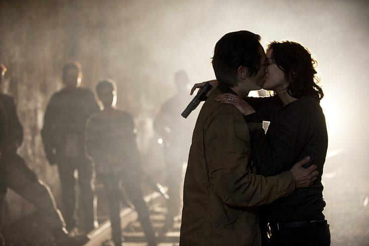 Steven Yeun as Glenn and Lauren Cohan as Maggie Greene in AMC's The Walking Dead. (Photo Credit: Gene Page/AMC)