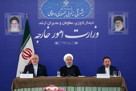 Iranian President Hassan Rouhani is seen during a meeting with Iran's Foreign Minister Mohammad Javad Zarif and with deputies and Senior directors of the Ministry of Foreign Affairs in Tehran