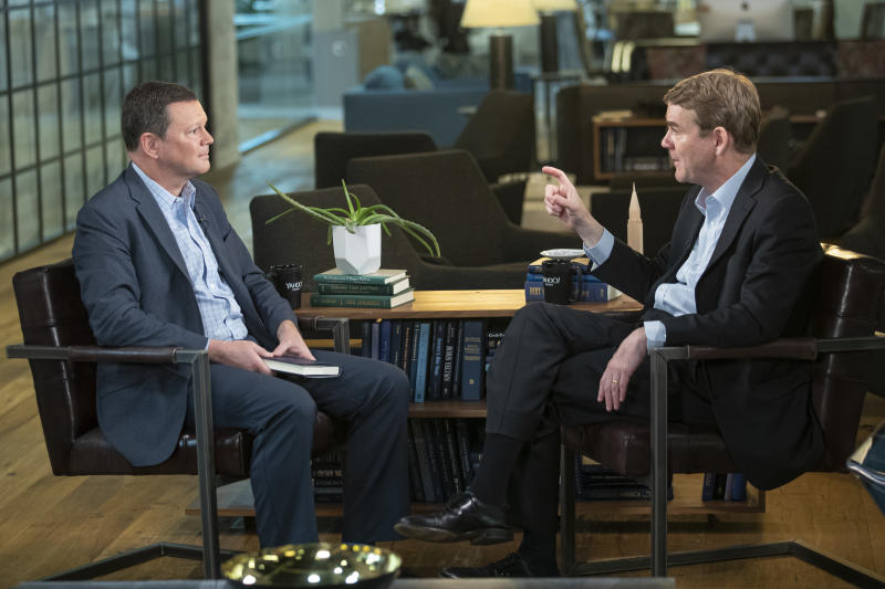 Colorado Sen. and 2020 Democratic presidential candidate Michael Bennet is interviewed by Yahoo Finance Senior Columnist Rick Newman at Yahoo offices in New York City on Friday, June 7, 2019. (Photo: Gordon Donovan/Yahoo News)
