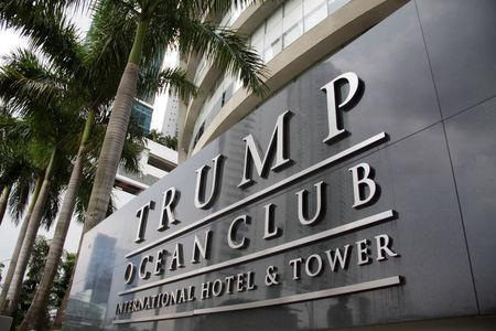 A sign of the Trump Ocean Club International Hotel and Tower Panama is seen in Panama City, Panama October 11, 2017. Picture taken October 11, 2017.  REUTERS/Carlos Lemos
