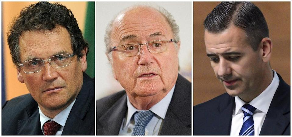 This combination of file pictures shows (L-R) Jerome Valcke, Joseph S. Blatter and Markus Kattner (AFP Photo/Franck Fife, LEON Neal, Fabrice Coffrini)