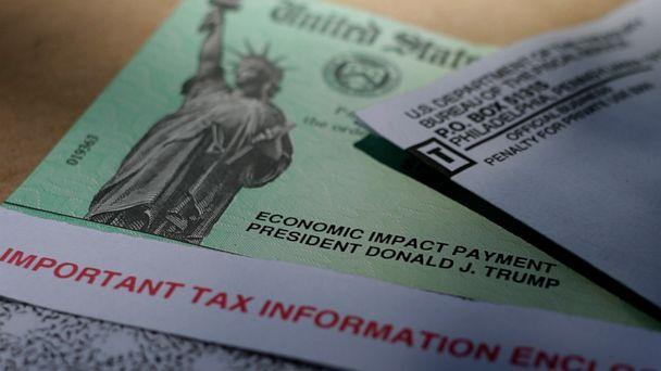 PHOTO: President Donald J.Trump's name is printed on a stimulus check issued by the IRS to help combat the adverse economic effects of the COVID-19 outbreak, Thursday, April 23, 2020, in San Antonio. (Eric Gay/AP, FILE)