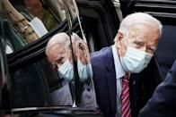 <p>Biden arrives at The Queen theater on October 19, 2020 in Wilmington, Delaware to record an interview with <em>60 Minutes</em>. </p>