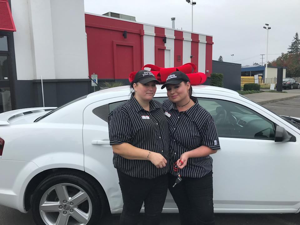 After walking to work for over a year, KFC gifted a car to single mom Crystal Lachance. (Credit: KFC Foundation)