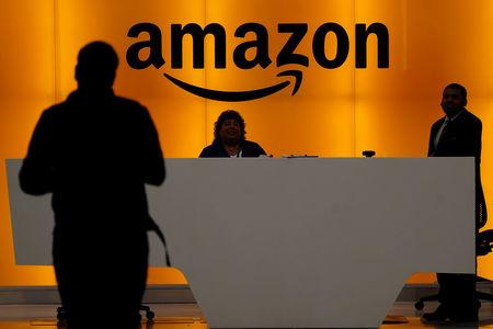 The front desk of the Amazon office is pictured in the Manhattan borough of New York, New York, U.S., May 1, 2019.   REUTERS/Carlo Allegri