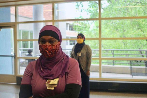 PHOTO: Fashion company Henna & Hijabs has been creating hijab for medical workers on the front lines of COVID-19. (Henna & Hijabs)