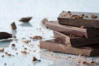 """<p><a href=""""https://www.prevention.com/food-nutrition/healthy-eating/g25728973/healthy-chocolate-bars-snacks/"""" rel=""""nofollow noopener"""" target=""""_blank"""" data-ylk=""""slk:Dark chocolate"""" class=""""link rapid-noclick-resp"""">Dark chocolate</a> is filled with flavonoid antioxidants (more than three times the amount in milk chocolate) that keep blood platelets from sticking together and may even unclog your arteries. Go for dark chocolate with 70 percent or more cocoa. Two tablespoons of dark chocolate chips with fresh berries as a mid-afternoon snack or after-dinner dessert should give you some of the heart-healthy benefits without busting your calorie budget.</p>"""