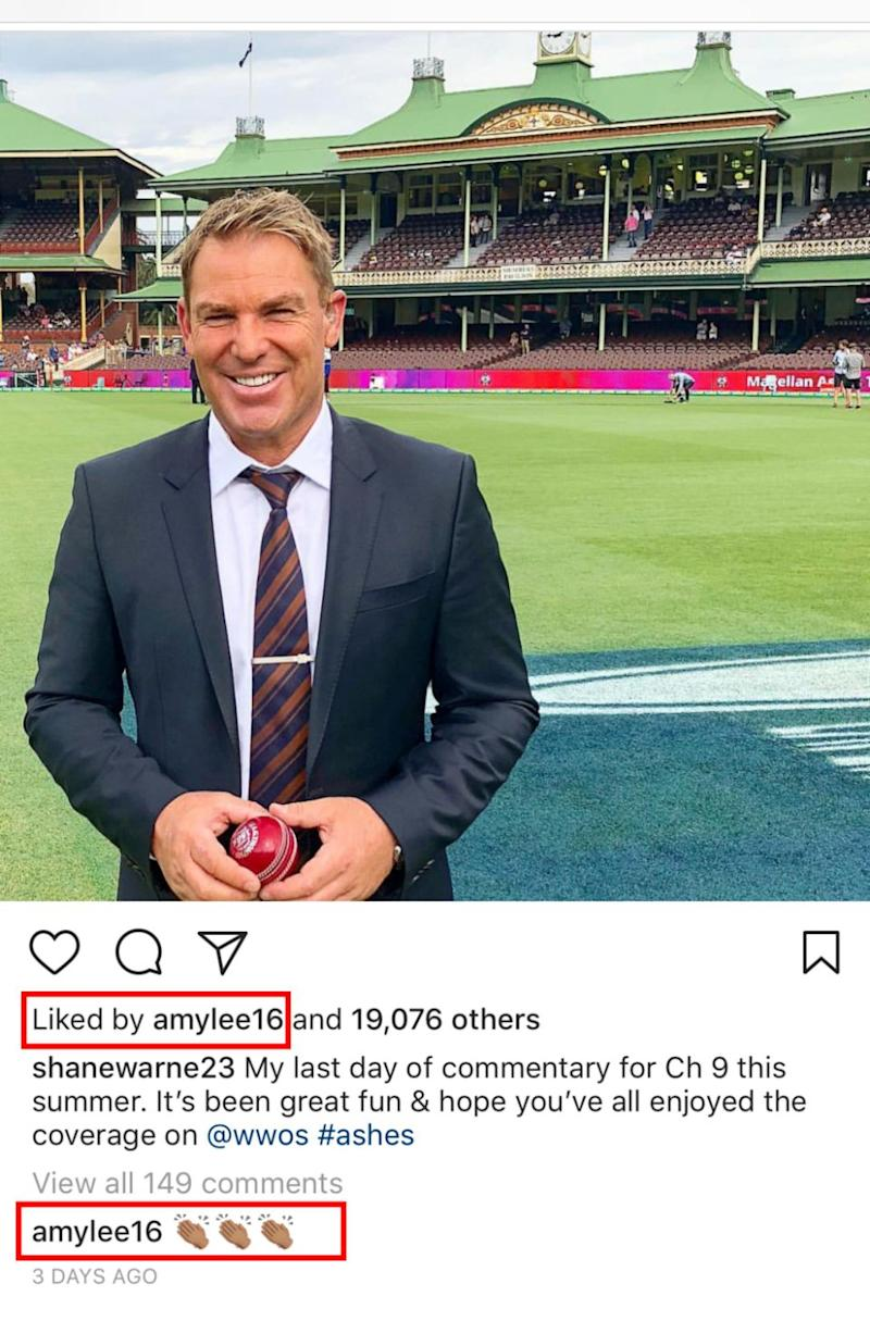 Amy has also been liking and commenting on a number of Shane's Instagram posts too. Source: Instagram / @shanewarne23