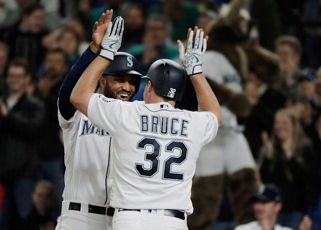 Jay Bruce and the Mariners are riding high right now thanks to their home run barrage. (AP Photo/Ted S. Warren)