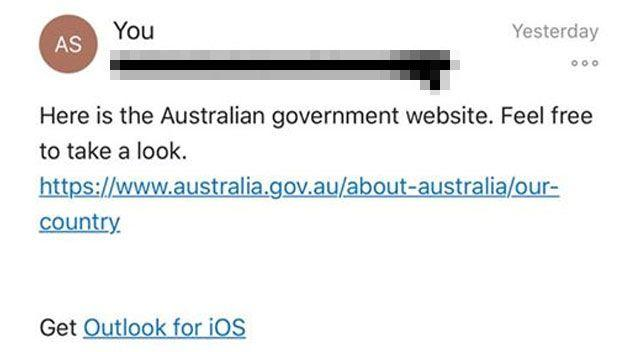 Ms Arnold directed her tutor to the Australian government's website. Source: Facebook/ Ashley Arnold