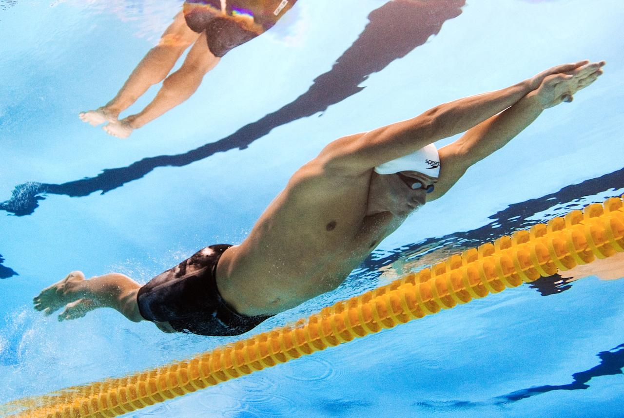 In a picture taken with an underwater camera US swimmer Ryan Lochte competes in the heats of the men's 200-metre individual medley swimming event in the FINA World Championships at the indoor stadium of the Oriental Sports Center in Shanghai on July 27, 2011.  AFP PHOTO / FRANCOIS XAVIER MARIT (Photo credit should read FRANCOIS XAVIER MARIT/AFP/Getty Images)