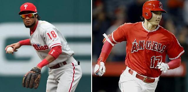 Phillies infielder-turned-reliever Pedro Florimon (left) shockingly homered and pitched in the same MLB game before Shohei Ohtani. (AP/Getty Images)