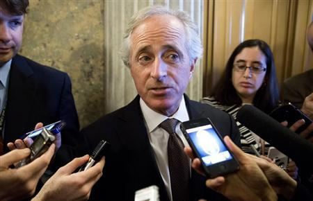 Senator Bob Corker (R-TN) speaks to reporters during the 14th day of the partial government shut