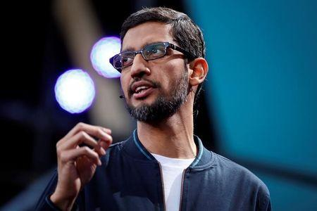 Google CEO Sundar Pichai delivers his keynote address during the Google I/O 2016 developers conference in Mountain View, California, U.S. May 18, 2016. REUTERS/Stephen Lam