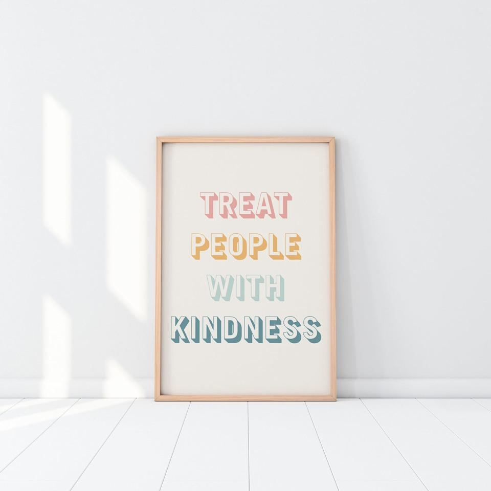 Treat People With Kindness Print digital print - Saudade Studios, $7.