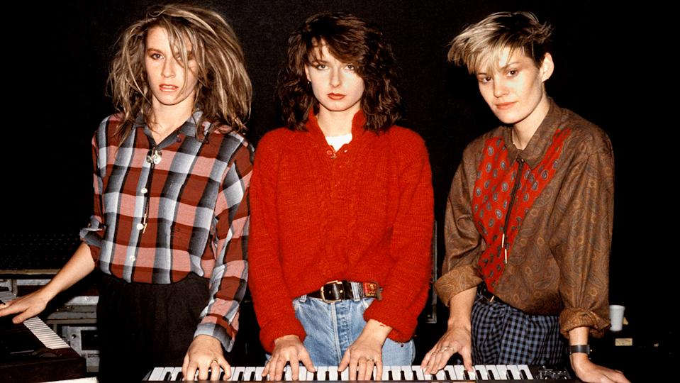 Sara Dallin and Keren Woodward (left and centre) recall the early days of Bananarama in their new autobiography (Image: Getty Images)