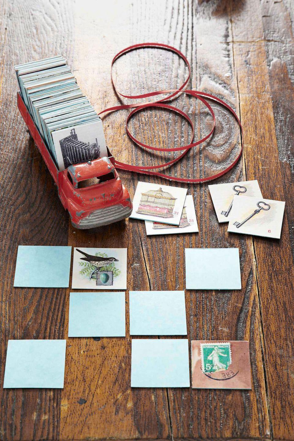 """<p>For this clever project, CL contributing editor Cathe Holden's already done most of the hard work—assembling a slew of vintage images (courtesy of <a href=""""http://graphicsfairy.blogspot.com/"""" rel=""""nofollow noopener"""" target=""""_blank"""" data-ylk=""""slk:The Graphics Fairy"""" class=""""link rapid-noclick-resp"""">The Graphics Fairy</a>) into four easy-to-print PDFs: <a href=""""http://clv.h-cdn.co/assets/cm/15/24/5578b42c01210_-_CLCHGFConcentration1.pdf"""" rel=""""nofollow noopener"""" target=""""_blank"""" data-ylk=""""slk:1"""" class=""""link rapid-noclick-resp"""">1</a>, <a href=""""http://clv.h-cdn.co/assets/cm/15/24/5578b42edd295_-_CLCHGFConcentration2.pdf"""" rel=""""nofollow noopener"""" target=""""_blank"""" data-ylk=""""slk:2"""" class=""""link rapid-noclick-resp"""">2</a>, <a href=""""http://clv.h-cdn.co/assets/cm/15/24/5578b43149617_-_CLCHGFConcentration3.pdf"""" rel=""""nofollow noopener"""" target=""""_blank"""" data-ylk=""""slk:3"""" class=""""link rapid-noclick-resp"""">3</a>, <a href=""""http://clv.h-cdn.co/assets/cm/15/24/5578b433a99b6_-_CLCHGFConcentration4.pdf"""" rel=""""nofollow noopener"""" target=""""_blank"""" data-ylk=""""slk:4"""" class=""""link rapid-noclick-resp"""">4</a>. Print out two copies of each PDF onto <a href=""""https://www.amazon.com/Premium-White-Smooth-8-5x11-Heavyweight/dp/B01N5WPKA2/?tag=syn-yahoo-20&ascsubtag=%5Bartid%7C10050.g.645%5Bsrc%7Cyahoo-us"""" rel=""""nofollow noopener"""" target=""""_blank"""" data-ylk=""""slk:8 1/2&quot; x 11&quot; card stock"""" class=""""link rapid-noclick-resp"""">8 1/2"""" x 11"""" card stock</a>. With a <a href=""""https://www.amazon.com/Royal-Brush-Foam-4-Pack/dp/B0052UN1JA?tag=syn-yahoo-20&ascsubtag=%5Bartid%7C10050.g.645%5Bsrc%7Cyahoo-us"""" rel=""""nofollow noopener"""" target=""""_blank"""" data-ylk=""""slk:foam brush"""" class=""""link rapid-noclick-resp"""">foam brush</a>, apply <a href=""""https://www.amazon.com/Mod-Podge-Waterbase-16-Ounce-CS11202/dp/B00178QQJ8/?tag=syn-yahoo-20&ascsubtag=%5Bartid%7C10050.g.645%5Bsrc%7Cyahoo-us"""" rel=""""nofollow noopener"""" target=""""_blank"""" data-ylk=""""slk:Mod Podge"""" class=""""link rapid-noclick-resp"""">Mod Podge</a> to the back of each card-stock printout be"""