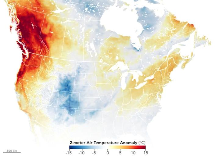 US Map showing strong temperature anomalies from Oregon through British Columbia.