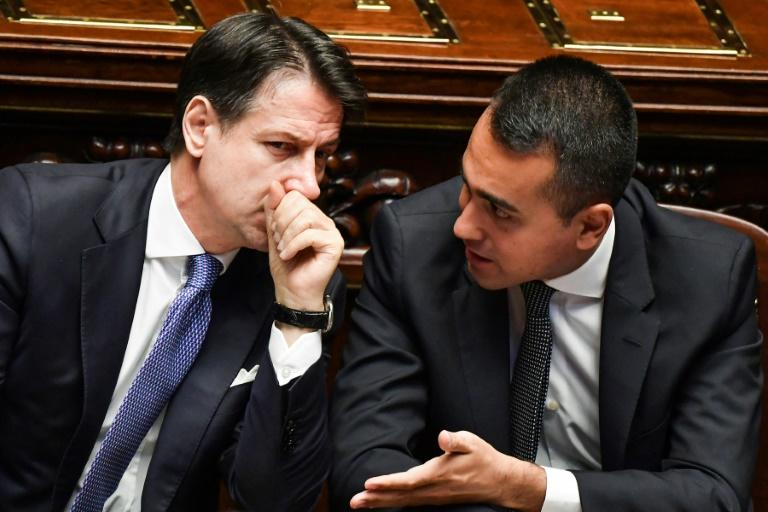 Conte speaks with new Foreign Minister Luigi Di Maio, who is also the head of the Five Star Movement (AFP Photo/Andreas SOLARO)
