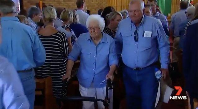 Dolly's great grandmother was supported at the service. Source: 7 News