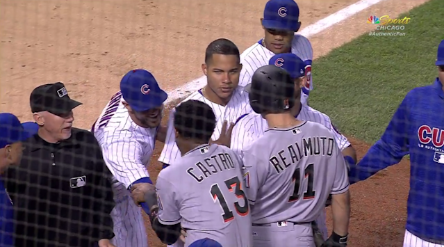Kris Bryant tickles Starlin Castro when the benches clear during a Cubs-Marlins game at Wrigley Field. (MLB)