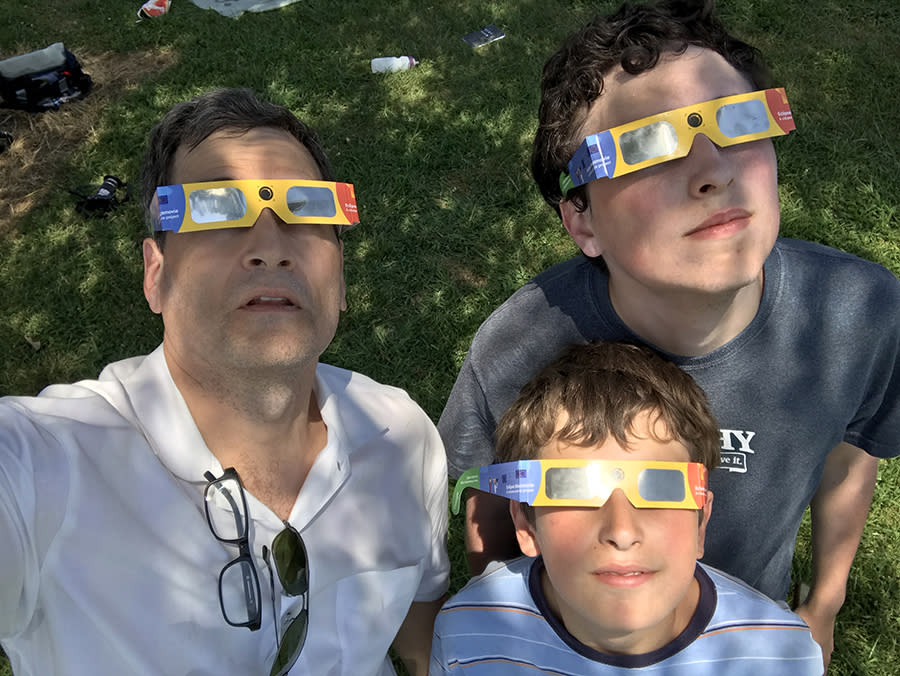 My sons and I, moments before the totality that blew us away.