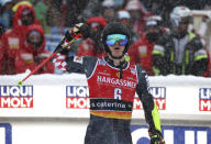 Croatia's Filip Zubcic arrives at the finish area during the second run of an alpine ski, World Cup men's giant slalom in Santa Caterina Valfurva, Italy, Saturday, Dec. 5, 2020. (AP Photo/Alessandro Trovati)