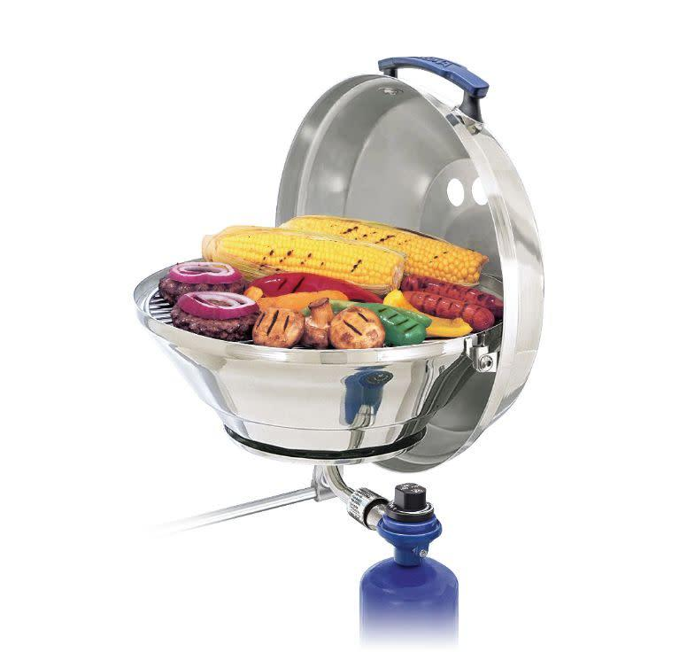 "Sail away with this gas grill that's meant for the seas. It features a ""stay cool&rdquo; handle that'll be easy on your hands and a lid that can act as a windshield and a grease catch. <a href=""https://yhoo.it/3ggk0tY"" rel=""nofollow noopener"" target=""_blank"" data-ylk=""slk:Find it for $130 at Dick's Sporting Goods"" class=""link rapid-noclick-resp"">Find it for $130 at Dick's Sporting Goods</a>."