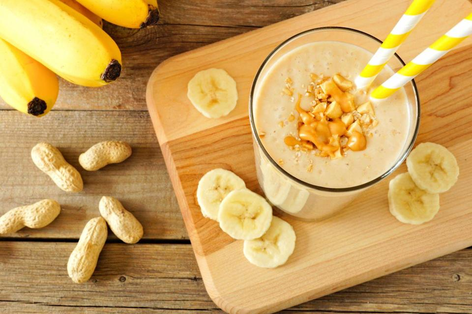 """<p>For a thicker, colder smoothie, cut peeled banana into chunks and freeze for up to a week in a self-sealing plastic bag.</p><p><em><a href=""""https://www.goodhousekeeping.com/food-recipes/a9247/banana-peanut-butter-smoothie-recipe/"""" rel=""""nofollow noopener"""" target=""""_blank"""" data-ylk=""""slk:Get the recipe for Banana-Peanut Butter Smoothie »"""" class=""""link rapid-noclick-resp"""">Get the recipe for Banana-Peanut Butter Smoothie »</a></em></p>"""
