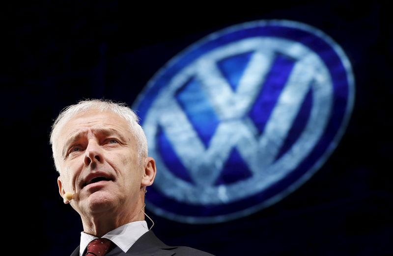 Volkswagen CEO Muller speaks at their media reception during the North American International Auto Show in Detroit