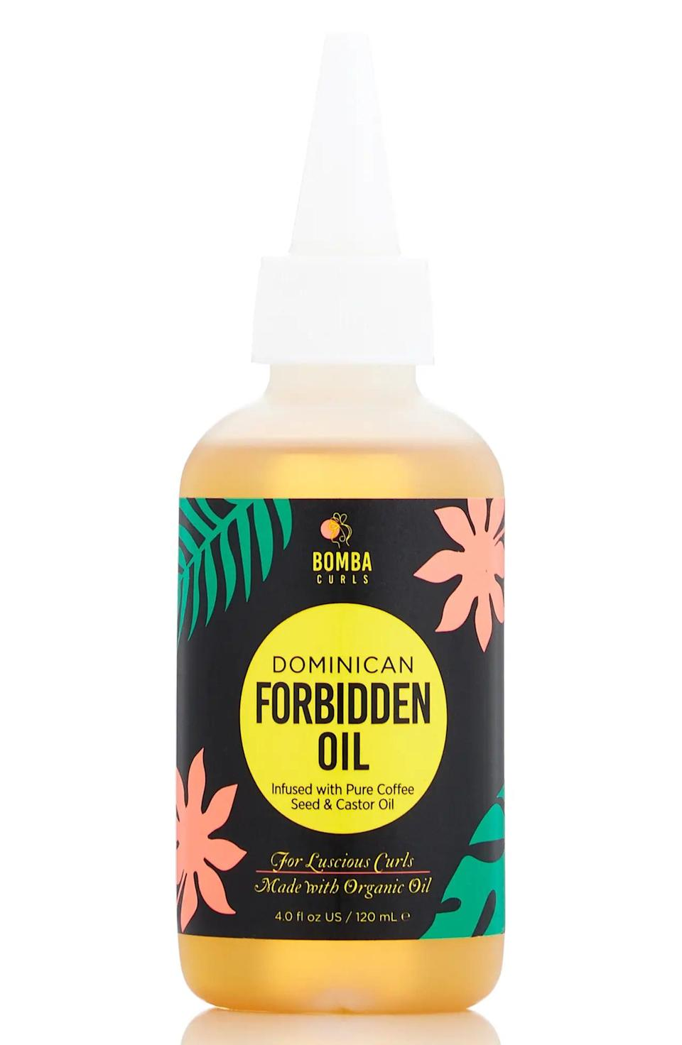 <p>The <span>Bomba Curls Dominican Forbidden Oil</span> ($22) is a multipurpose oil. It can be used as a pre-shampoo treatment or an overnight mask to reduce frizz and add shine to your hair. </p>