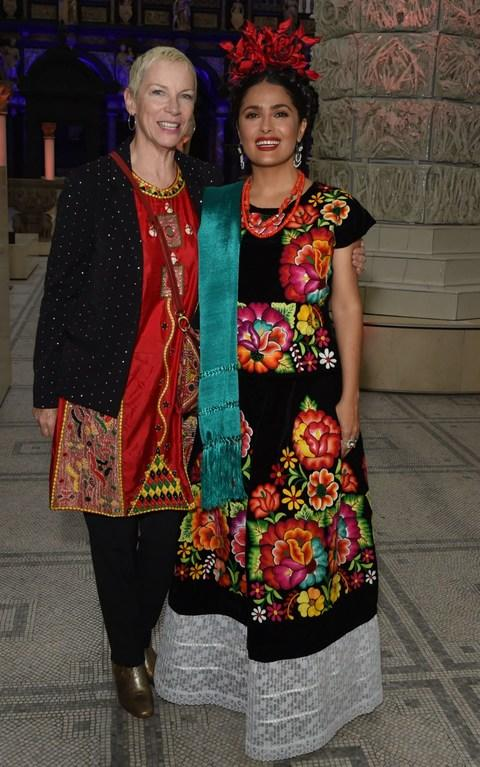 Annie Lennox and Salma Hayek attend a private view of Frida Kahlo: Making Her Self Up - Credit: David M. Benett