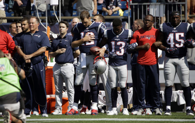 <p>New England Patriots head coach Bill Belichick, left, and Tom Brady (12) Phillip Dorsett (13) Matthew Slater, second from right, and David Harris (45) stand during the national anthem before an NFL football game against the Houston Texans, Sunday, Sept. 24, 2017, in Foxborough, Mass. (AP Photo/Steven Senne) </p>